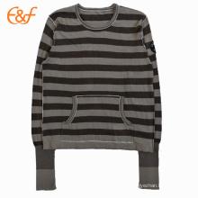 Le tricotage entièrement façonné roule le pull de coton de pull de bords pour des femmes