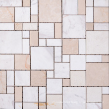 France Style Commercial Use Natural Tumbled Marble Mosaic Tile