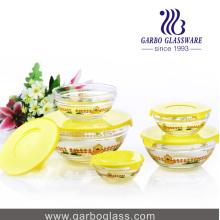 5PCS Bowi de cristal fijado con diseño amarillo de la impresión del pato