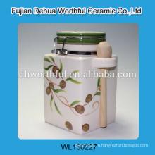 Ручной керамический контейнер с ложкой, керамический герметичный контейнер