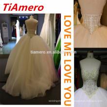 2015 mais recente design pesado com relva Arábia luxuosos vestidos de noiva / esplendor fora de ombro de jóias sexy vestidos de casamento sem costas