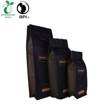 Kunyit Biodegradable Custom Printed Coffee Packaging Kraft Paper Flat Bottom Pouch Dengan Zipper & Valve
