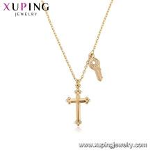 44081 Collar al por mayor de la religión de la joyería de la manera Collar cruzado del color oro 18k con la llave