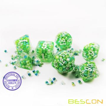 Bescon Olive Pearl Polyhedral Dice Set, Pearl Poly RPG Dice set of 7