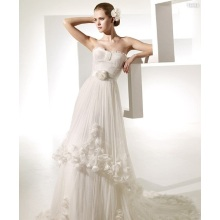 Vestido de novia tren capilla hilados artificiales flores volantes vestido de novia