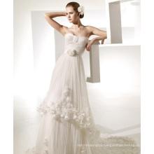 A-line Sweetheart Chapel Train Yarn Manmade Flowers Ruffled Wedding Dress