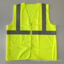 Veste de sécurité antidérapante ANSI 107 en coton fluorescent avec fermeture à glissière avec poches de qualité bande réfléchissante