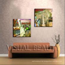 Wand-Kunst New York London Ölgemälde auf Leinwand Abstrakt Stadtbild