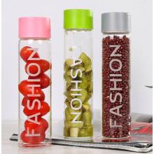 Wholesale  glass tumbler water bottle multicolor glass voss water bottle