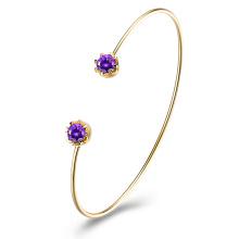 Purple Zircon Claw Gold Bangle Women Gold Bangle New Design Gold Bangle