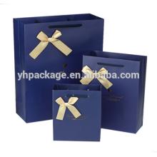 2018 logo or emboutissage ruban arc bleu imprimé papier sac d'emballage