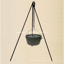 Conjunto de camping de barbacoa exterior de hierro fundido preconfigurado con trípode