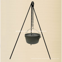 Preseasoned Cast Iron Outdoor BBQ Camping Set with Tripod