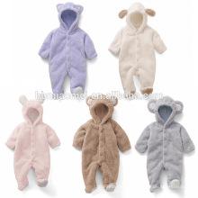 Venda quente animal estilo manga longa e romper do inverno do bebê com capuz para o bebê menina e menino