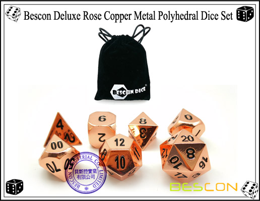 Bescon Deluxe Rose Copper Metal Polyhedral Dice Set-7