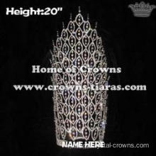 20inch Big Tall Crystal Pageant Crowns Wholesale Spike Crowns