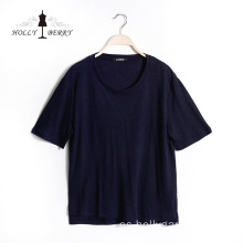 Casual Regular Short Sleeve Navy Casual T-shirts Mujer
