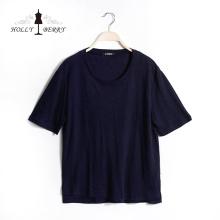 Casual Regular Short Sleeve Navy Casual T-shirts Mujer