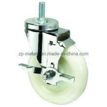 Roue à roulettes à filetage moyen en PP blanc avec frein latéral