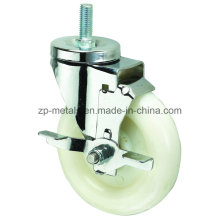 Medium-Duty White PP Thread Caster Wheel with Side Brake