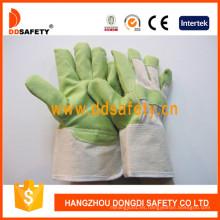 Guantes de jardín de PVC verde con espalda de algodón blanco Dgp105