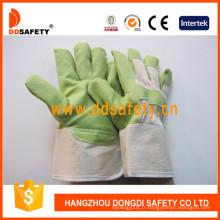 Gants de jardin en PVC vert avec dos en coton blanc Dgp105