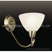 Antique Brass White Alabaster Glass Wall Lamp