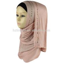 Wholesale fashion women wear head new pattern scarf shawl stone stretch jersey hijab