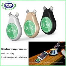 Récepteur et transmetteur Qi 2 en 1 pour iPhone et téléphone Android Récepteur sans fil