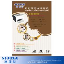Weiße Farbe Laser Transferdruck Wasser Rutsche Abziehbild Papier