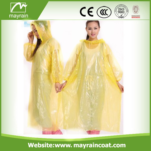 Light PE Disposable Adult Raincoat