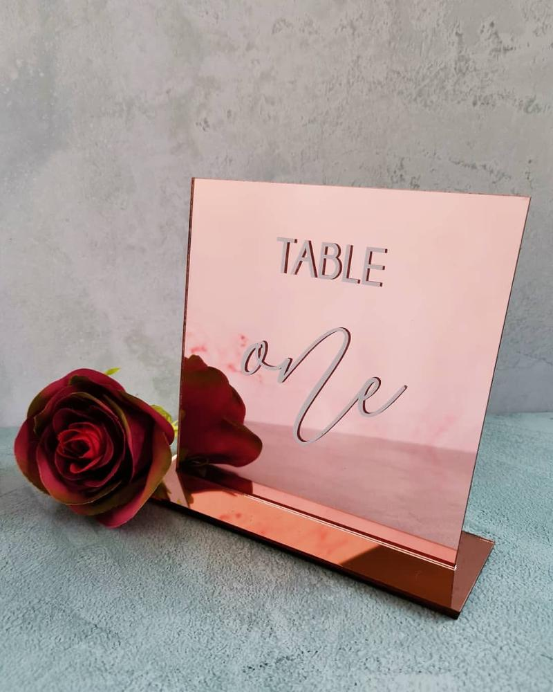 Acrylic Wedding Table Number Sign Pink