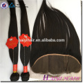 Virgin Hair Straight Style 4x4 Natural Hairline Brazilian Lace Closure With Bundle