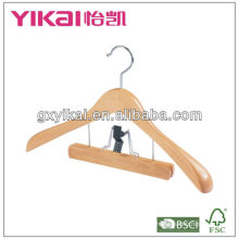 wooden coat hanger with wide shoulders and trousers clamp
