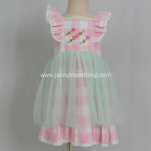 boutique embroidery pink check baby girl dress