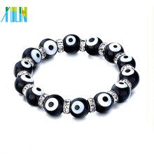 2014 schwarze bösen Blick Perlen mit klarem Kristall Strass Armband