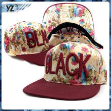 Professiona lproduct snapback in sport China custom snapback in sport with embroidery flowe