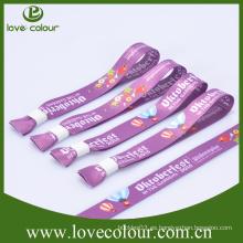 De color personalizado de una sola vez de uso sublimación impreso wristband poliester de amistad