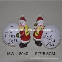 Muñeco de nieve de cerámica y bola de nieve blanca para 2016 decoración de Navidad