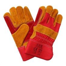 Cuero de vaca dividido de corte resistente a la mano doble de trabajo de trabajo guantes de seguridad