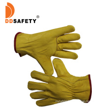 Gold Supplier Yellow Cow Grain Leather Driver Work Glove
