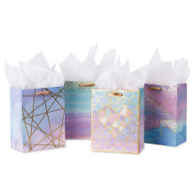 Medium Size Gift Bags Colorful Marble Pattern Gift Bag with Tissue Paper for Shopping,Parties,Wedding, Baby Shower, Craft