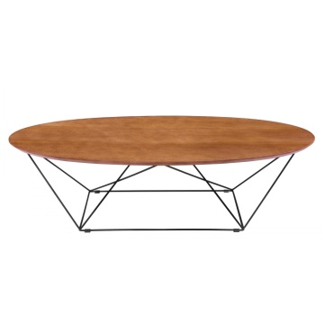 Modernes Restaurant Round Wood MDF CoffeeTable Metallbein