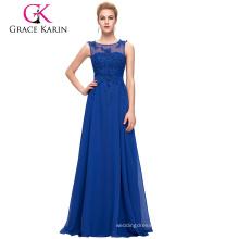 Grace Karin Plus Size Sleeveless V-Back Blue Chiffon Evening Dress for Fat Women CL007555-6