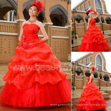 Nuevo estilo rojo princesa vestido de bola vestidos de novia GP049