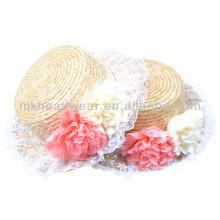Ladies Summer Short Brim Paja Fedora Sun-shading sombrero con flor