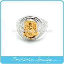 Personnalisé de haute qualité 316L chirurgicale en gros mens anneau en acier inoxydable titane Jésus Christ mode anneau avec placage Mid-or