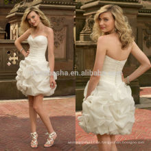 2014 Organza Schatz kurzes Hochzeitskleid mit Criss Cross gefaltete Mieder gekräuselte Rock Reißverschluss Hülle Brautkleid NB0881