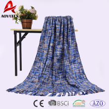 Cheap factory price Acrylic hand made throw knit blanket