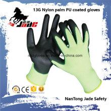 13G Nylon Palm Schwarz PU Coated Handschuh